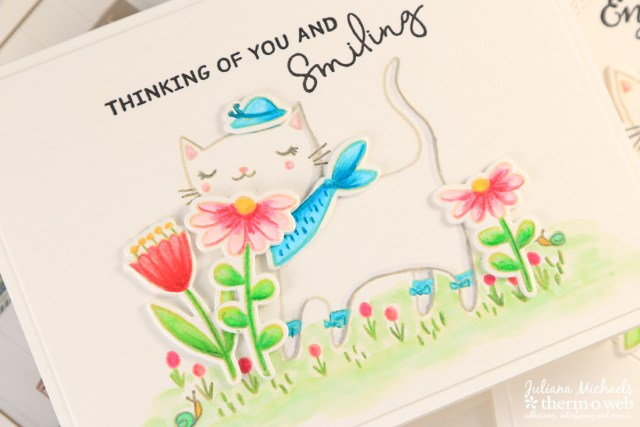 Thinking Of You Card with Waffleflower Stamps and Therm O Web Foam Adhesive