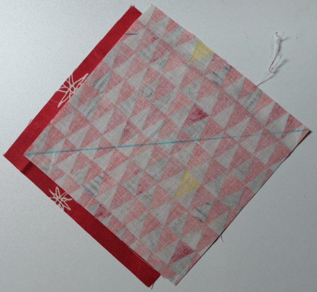 draw line on wrong side of Fabric B