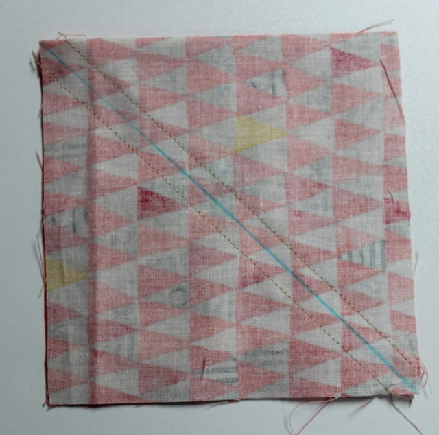 stitch on each side of line