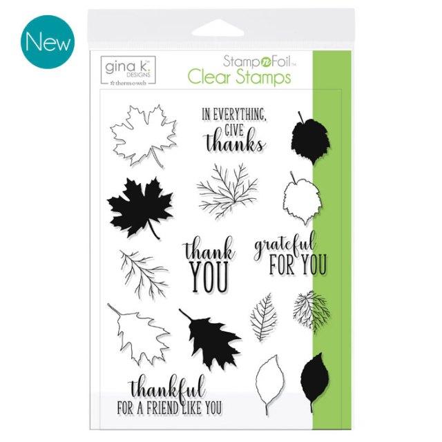 Gina K. Designs StampnFoil Stamp Set - Thankful Leaves