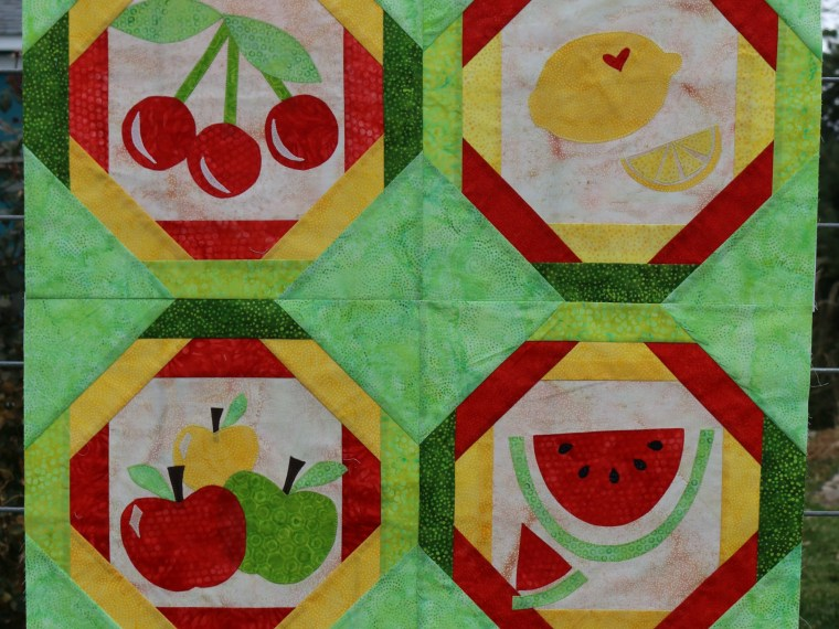 Paper Pieced Fruit Salad Quilt with HeatnBond