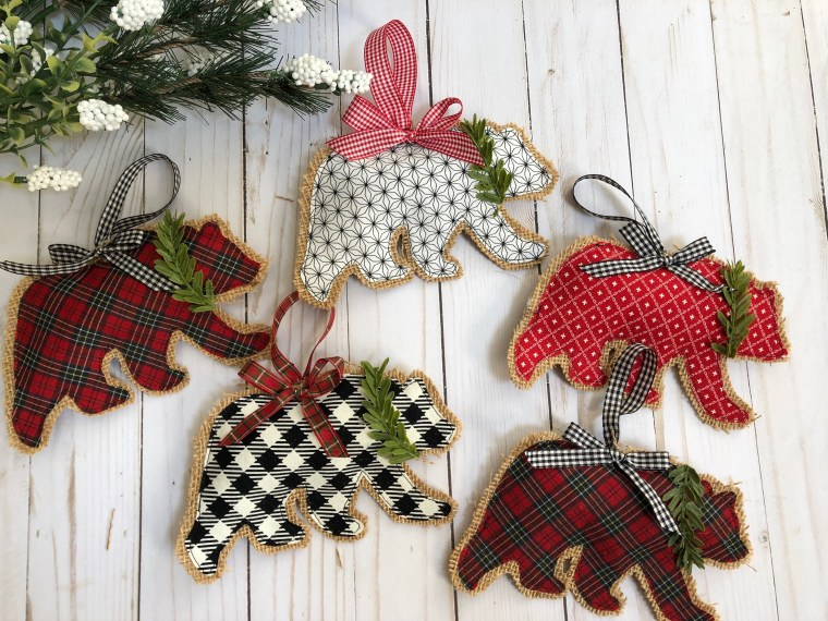 Rustic Bear Burlap Christmas Ornaments