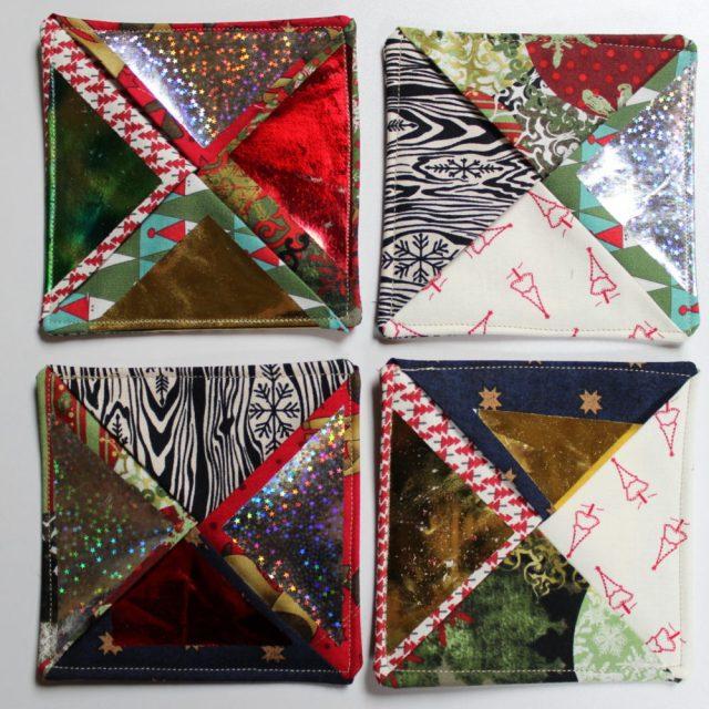 Four Pinwheel DecoFoil Coasters