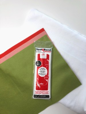 Supplies for no sew tree skirt are felt and heat n bond Ultra