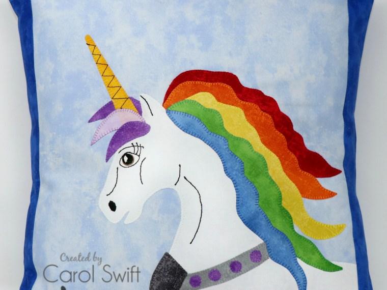 Rainbow Unicorn Applique Pillow