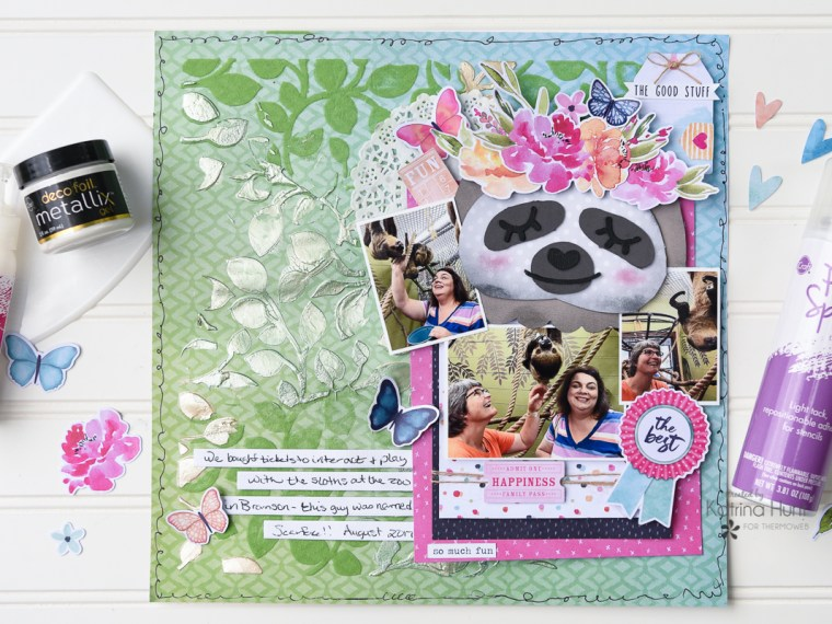 Sloth Scrapbook Layout with Deco Foil Metallix