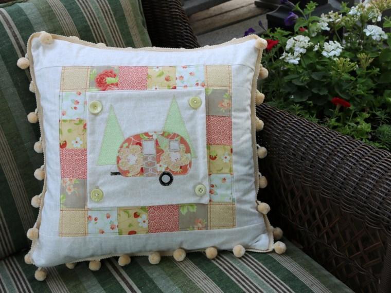 Summer Camper Applique Pillow