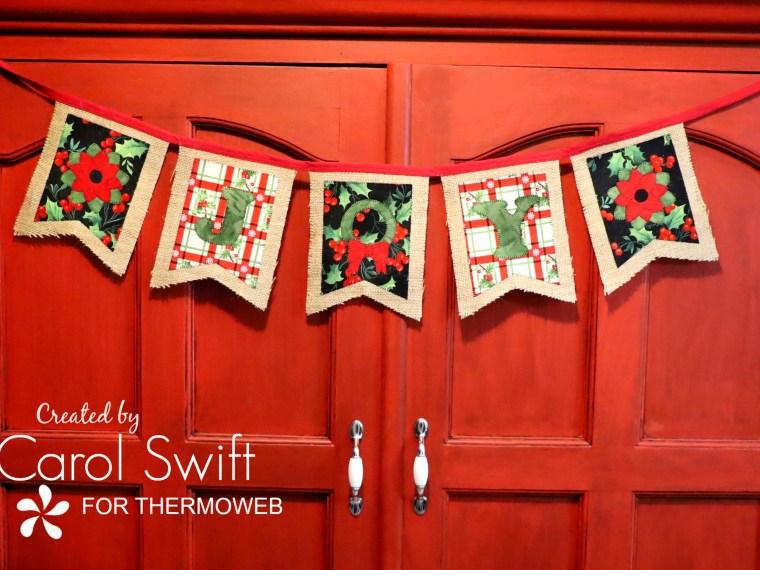 Joy Christmas Fabric Banner