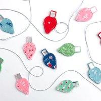 Christmas Fabric Lightbulb Garland Home Decor