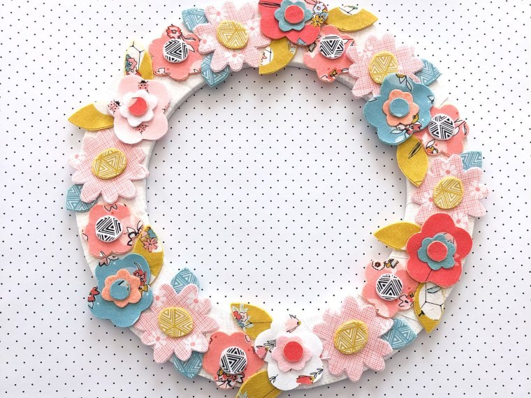 Spring Fabric Floral Wreath