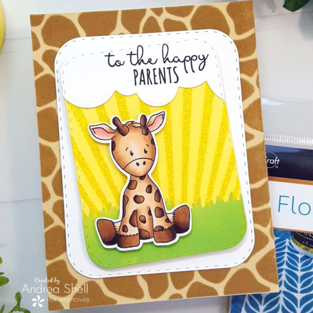 Giraffe Baby Card by Andrea Shell | Baby Animals stamp by Whimsy Stamps