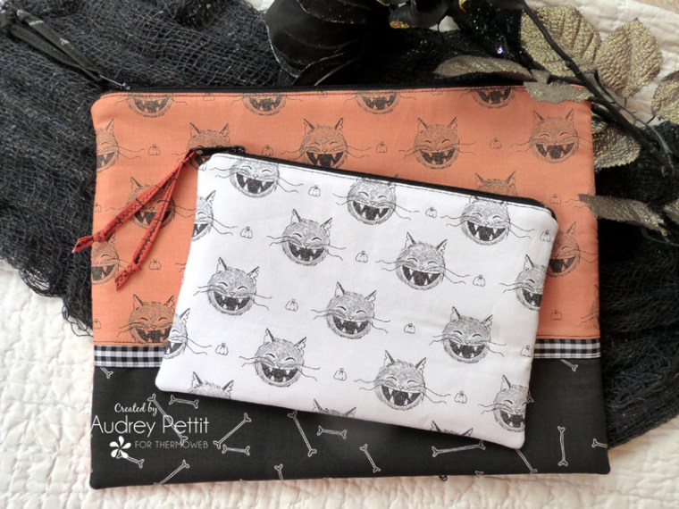 Scaredy Cat Halloween Fabric Pouches