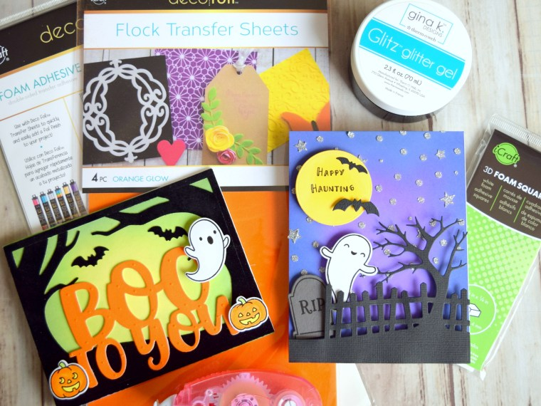Halloween Cards with Glitz and Deco Foil Flock