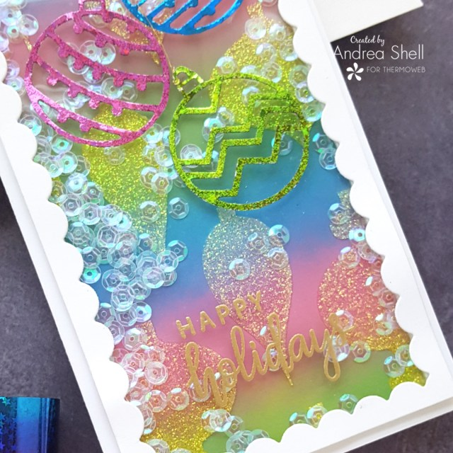 Rainbow Holiday Slimline Shaker card by Andrea Shell