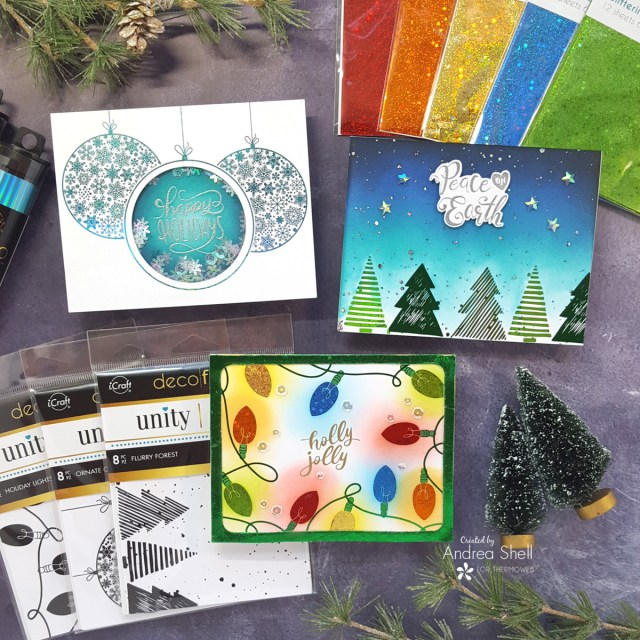 Trio of Foiled Christmas cards by Andrea Shell | Unity Toner Card Fronts by Therm O Web
