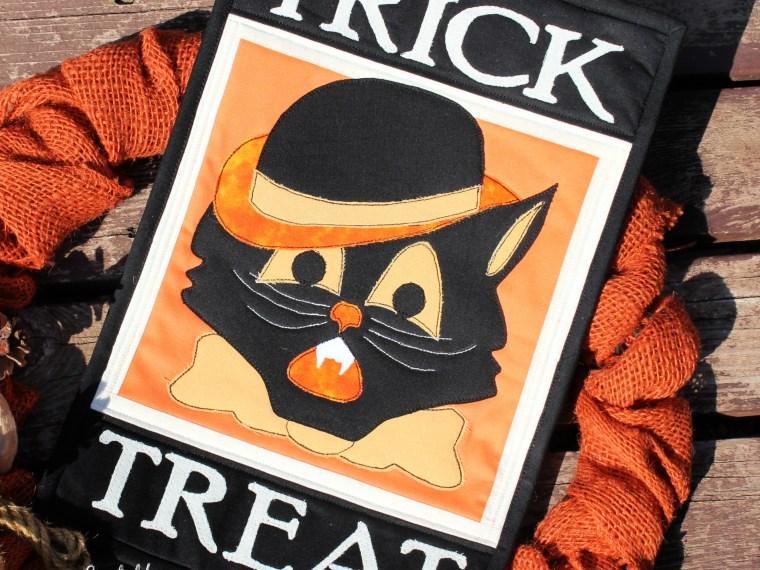 Scary Cat Halloween Mini Quilt
