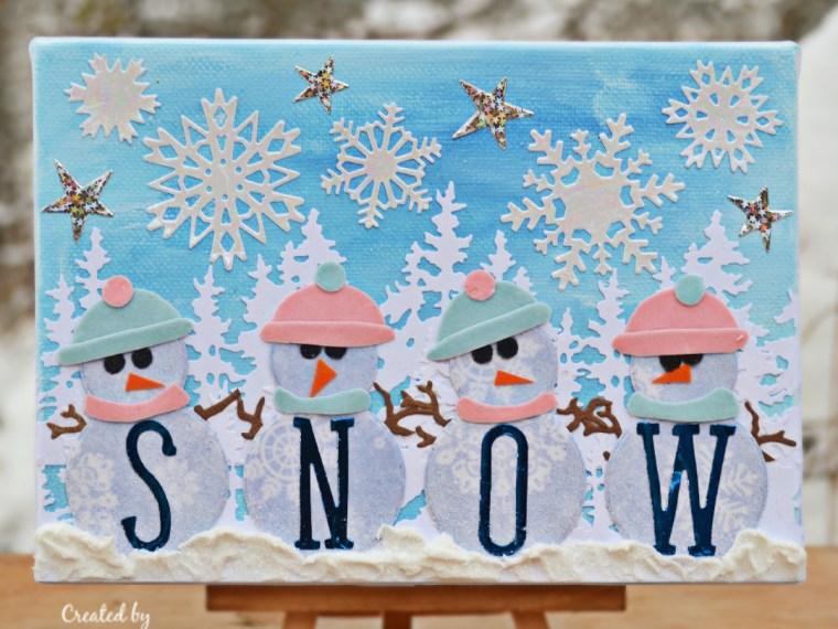 Snowy Mixed Media Canvas