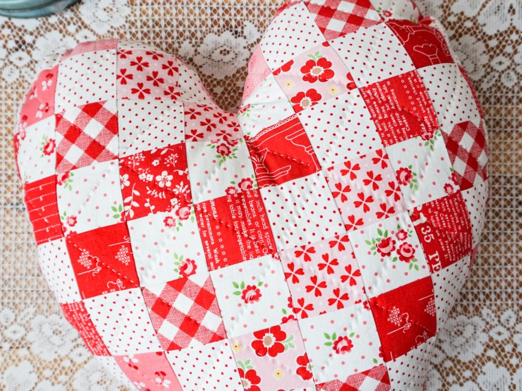 Scrappy Fabric Heart Pillow