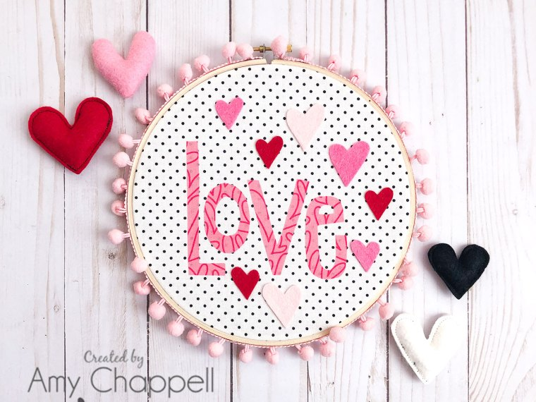 Love Heart Applique Hoop Decor