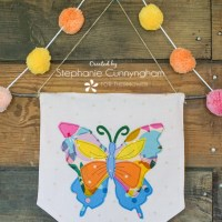 Colorful Fabric Butterfly Applique Wall Hanging