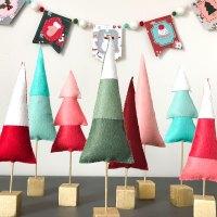 Benzie Felt Christmas Tree Forest  with Pattern & Stencil Spray