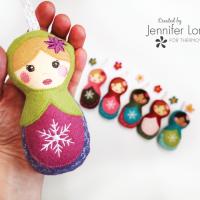 Matryoshka Felt Doll Holiday Ornament with Fabric Fuse