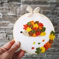Hedgehog Autumn Hoop Art with HeatnBond Interfacing
