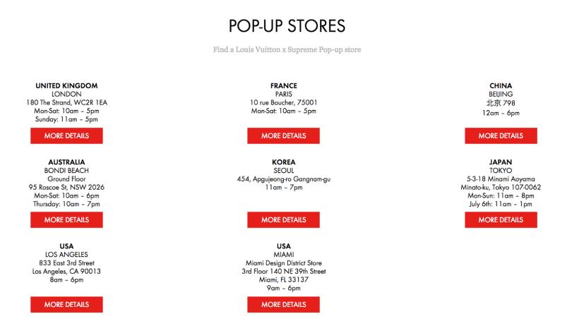 louis vuitton supreme pop-up stores