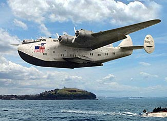 Pan Am's California Clipper graces the air above Auckland harbor (see final item).