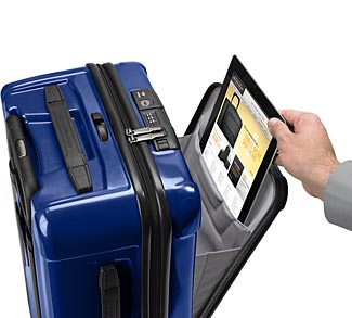 The carry-on has a nice protective front opening pouch where you can safely stow a tablet and other items.