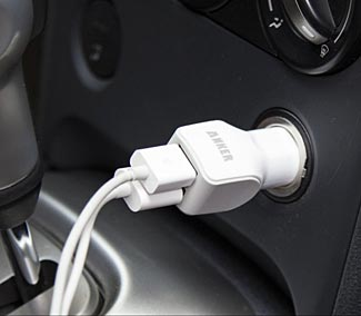 You can charge two devices simultaneously from one outlet, and both at fast charge rates, with Anker's new car charger.