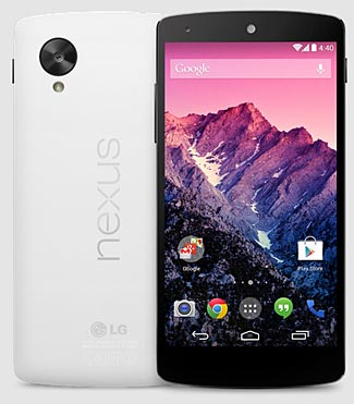 The wonderful new Nexus 5 is available in either white or black.