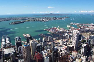 Auckland and its beautiful harbor.