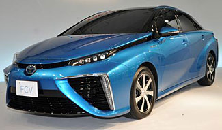 Toyota's new hydrogen fuel cell powered vehicle, the Mirai.