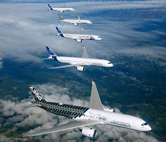 Airbus celebrated the certification of its new A350 plane by flying five of them in formation.