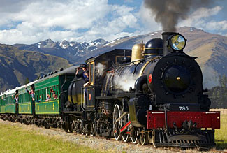 The Kingston Flyer, just south of Queenstown in New Zealand.