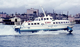 The vintage hydrofoil, Manu Wai, seen here on Auckland Harbour.