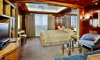 An enormous Classic Suite on our Poseidon cruise.  Many suite types are even larger.