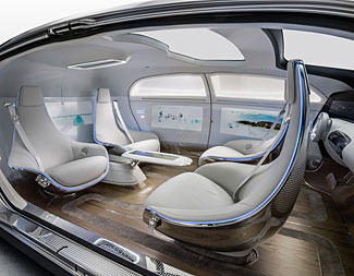 The interior of the Mercedes F015 concept car.