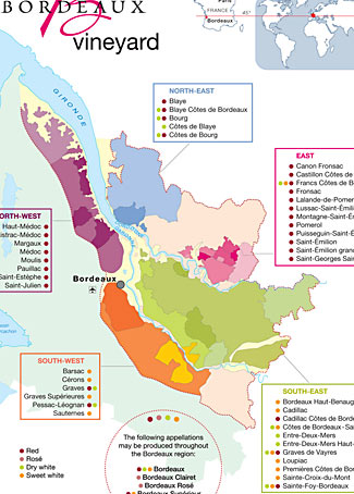 Click this small cropped map to open up a larger map showing the wine regions in the Bordeaux area.