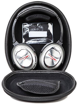 The latest generation of Solitude headphones, in their useful carry case.