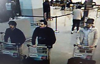 The two suicide bombers and a third who ran away, caught on video footage shortly before blowing themselves up on Tuesday this week in Brussels airport.