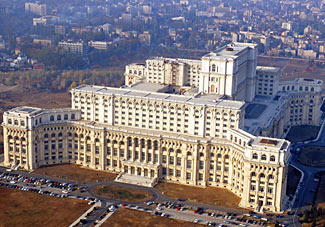 Some sense of the size of Bucharest's ginormous Palace of the Parliament can be gained by looking at the tiny dots in front - those are cars.  One of our group was given a personal tour of this building by then dictator Nicolae Ceausescu and his wife; if we're lucky, she'll share some of her experiences with us on our Balkan cruise from Bucharest to Budapest this Aug/Sept.