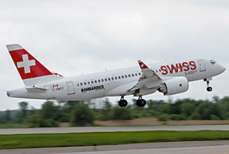 The lovely new Bombardier CS100, due to start service with Swiss any day now.  (see item below)