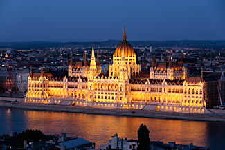 The Parliament in Budapest at night - we include a lovely Christmas Lights night-time cruise around Budapest on our first day of the cruise.