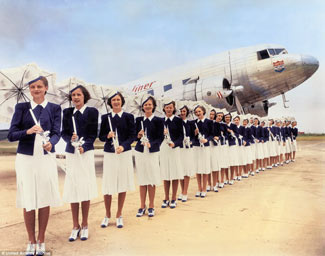 This 1939 picture of United Air Lines' Air Hostesses, as it and they were then known, makes one wonder just how much 'better' the flying experience has truly become in the 75 years subsequently.  See last item.