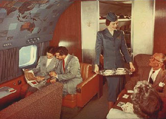First class on a TWA Super Constellation, in the late 1950s.