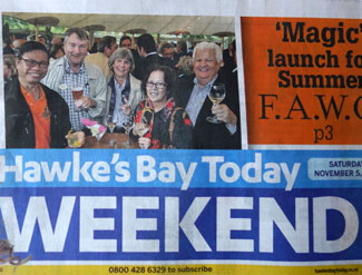 Our group's attendance at the Food and Wine Classic festival was featured on the front page of the local newspaper. I'm second from the left.