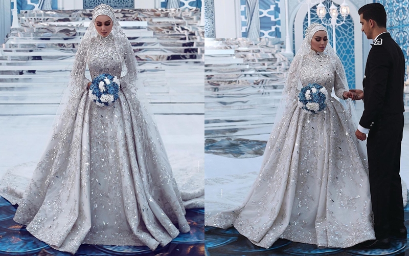 Over her head scarf like a decorated. Top 12 Hijabi Brides Who Left Us Absolutely Spell Bound The Wedding Brigade Blog