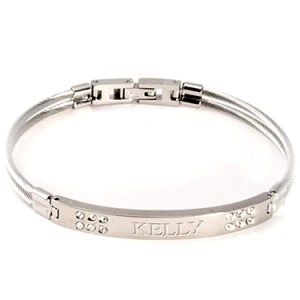 Bangle Bracelet Silver with Crystal  Things Engraved